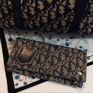 DIOR Monogram Leather Pocket Long Bifold Wallet